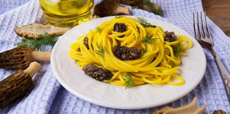Spaghettis aux morilles et aux légumes