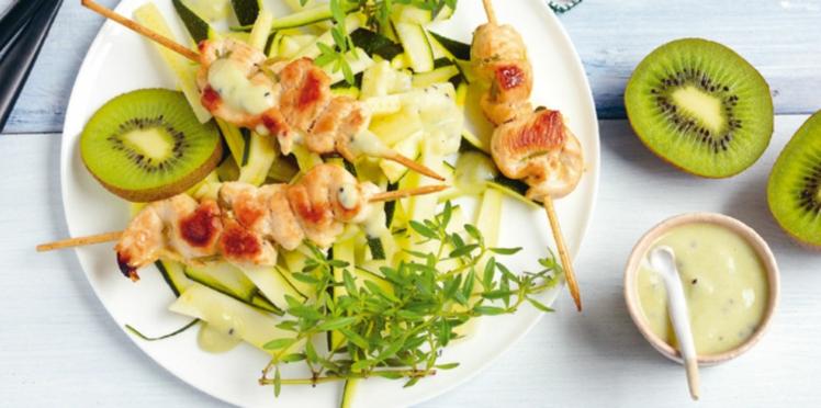 Brochettes de poulet, sauce amande-kiwi