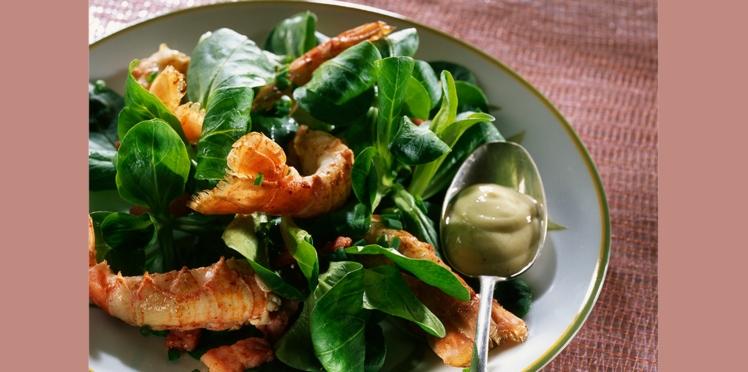 Salade de langoustines aux lardons