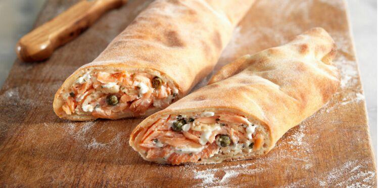 Pizza roulée au saumon