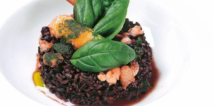 Risotto vénéré aux crustacés, basilic et huile