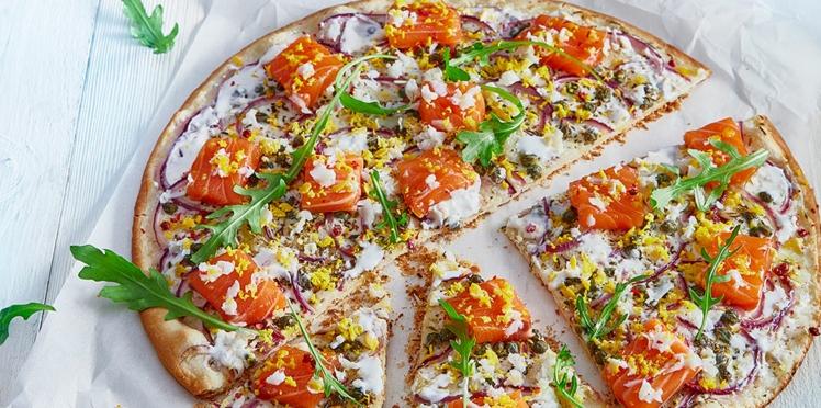 Pizza au saumon et à la crème de Chavroux