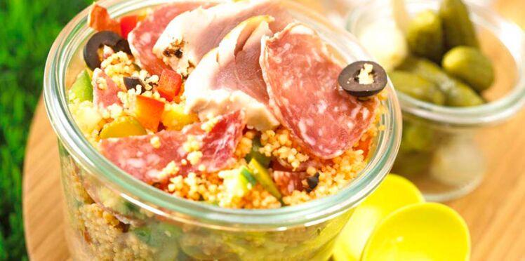 Taboulé de saucisson cornichons olives thon