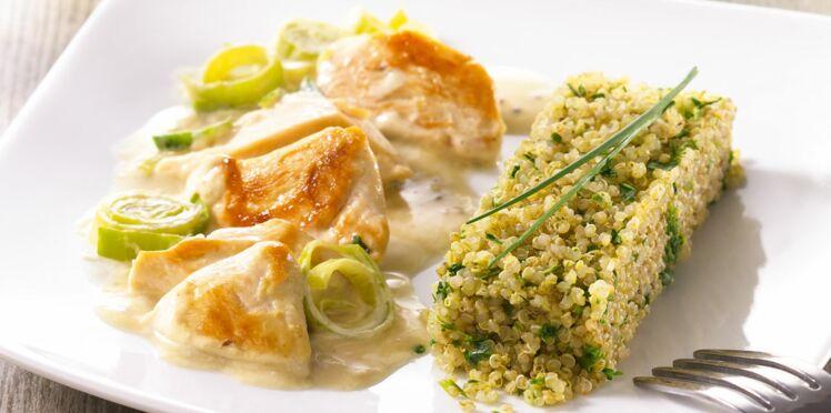 Poulet et poireaux sauce moutarde, quinoa aux herbes