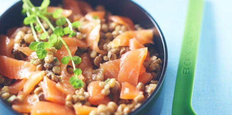 Lentilles au saumon fumé à l'échalote