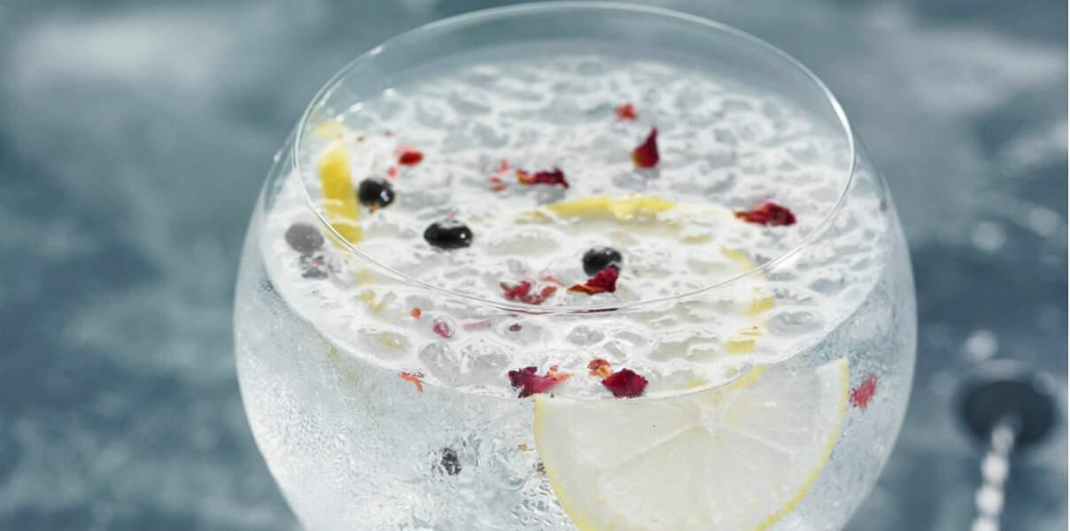 Cocktail pour le Verseau : un Gin tonic aux baies roses