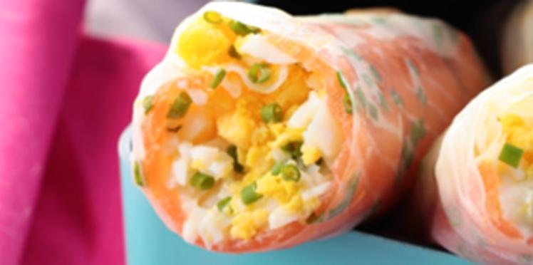 Rouleaux de printemps aux œufs durs et saumon fumé