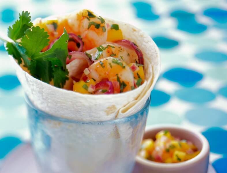 Wrap aux crevettes, sauce à la mangue