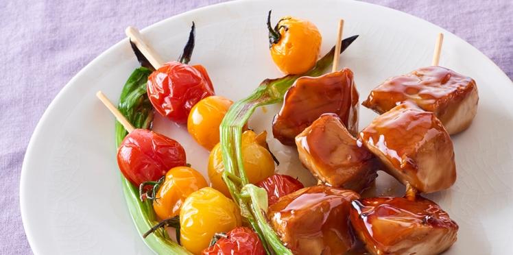 Brochettes de thon grillées