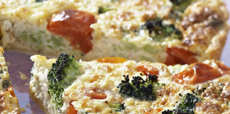 Quiche aux brocolis, St marcellin et tomates cerises