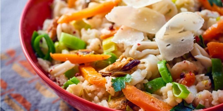 Risotto aux fruits de mer et légumes fondants