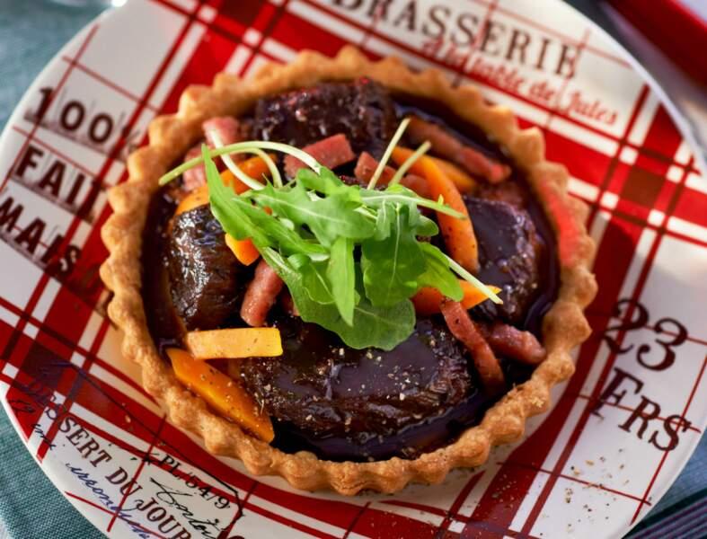 Bœuf bourguignon en tartelettes croustillantes