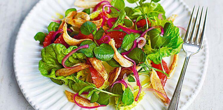 Poulet croustillant et salade de cresson