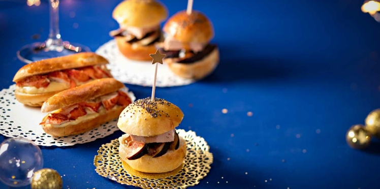 Mini-burgers au foie gras et hot dogs au homard