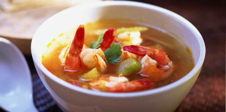 Soupe chinoise aux crevettes et au poulet