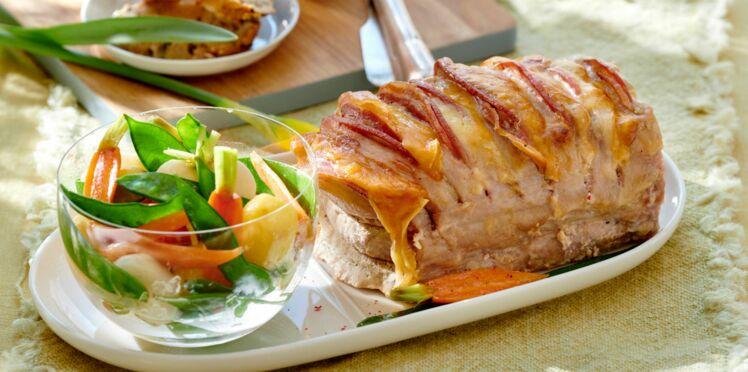 Rôti de porc orloff et ses légumes primeurs