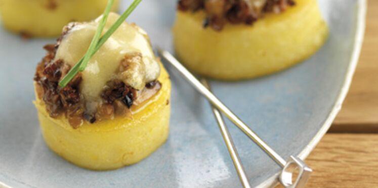 Canapé de pommes de terre gratiné à la duxelle de champignon