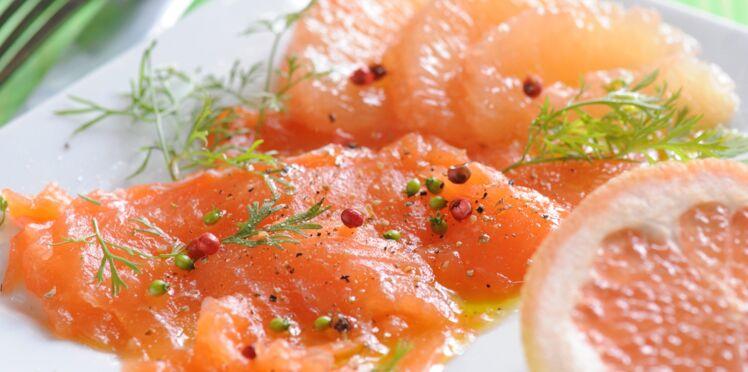 Carpaccio de saumon au pamplemousse