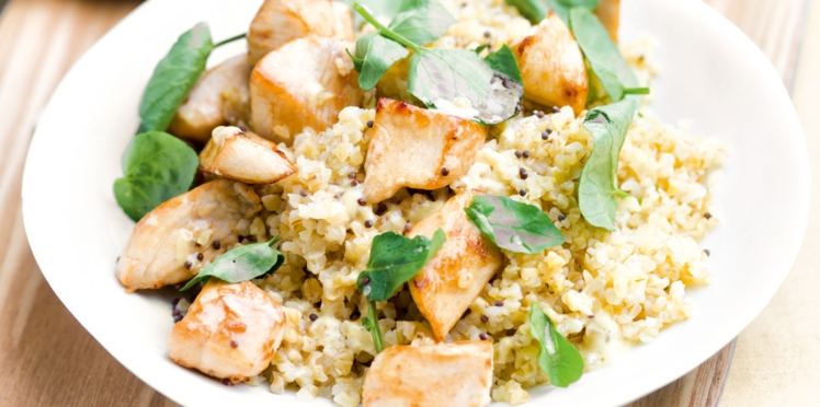 Salade tiède de boulgour, poulet et cresson
