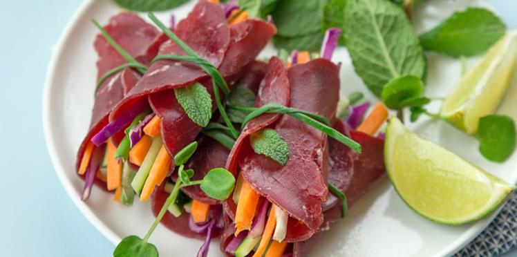 Rouleaux de pavé de bœuf séché aux légumes de saison