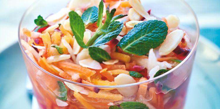 Recette acido-basique : carottes râpées en gelée de citron menthe