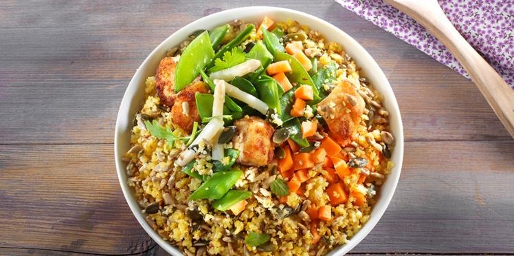 Bowl gourmand volaille et légumes de printemps