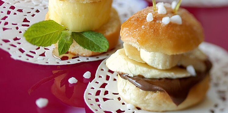 Mini-burger banane-chocolat