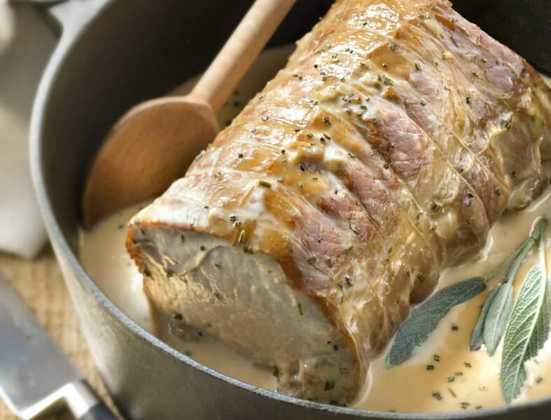 Rôti de porc au miel et à la moutarde