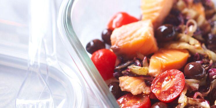 Saumon sauté à la trévise et aux olives