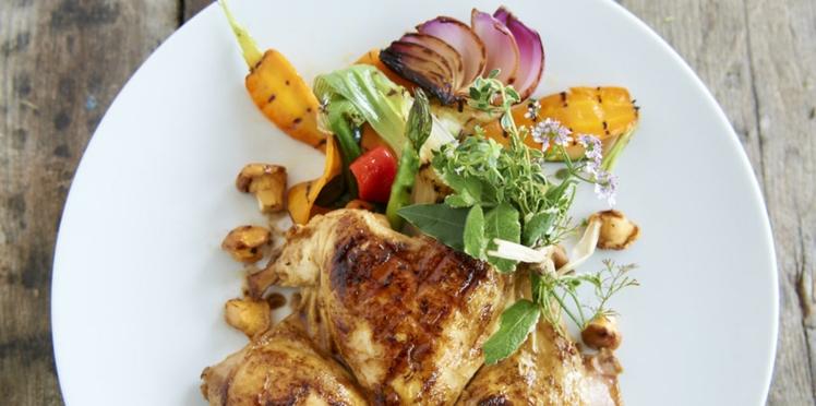 Coquelets grillés et panaché de légumes