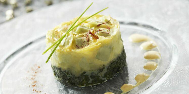 Flan de ravioles au Saint-Marcellin et à la crème de safran