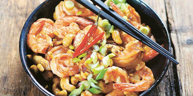 Wok de crevettes aux noix de cajou rapide et facile de Laurent Mariotte