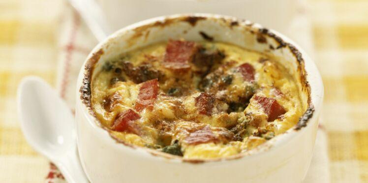 Clafoutis mozzarella, Parme et basilic