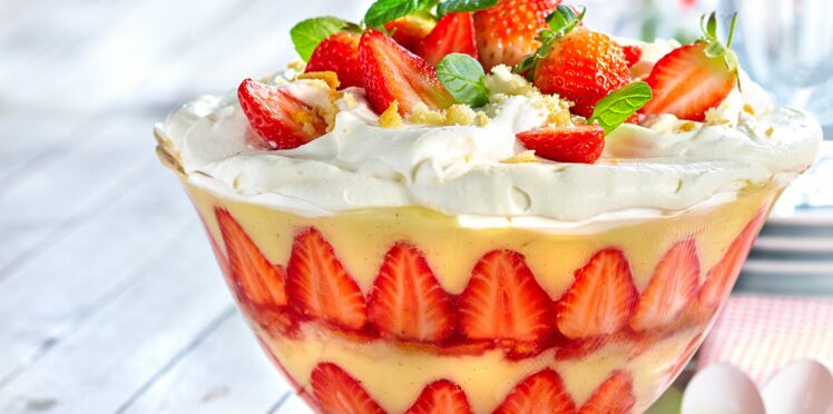 Trifle aux fraises au fromage blanc