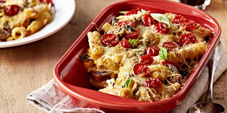 Conchiglie gratinées au bacon, aux champignons et parmesan