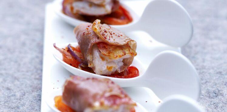 Filet de rouget rôti au jambon de Bayonne et poivronnade