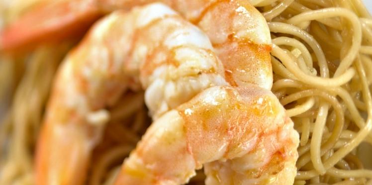 nouilles sautées aux crevettes