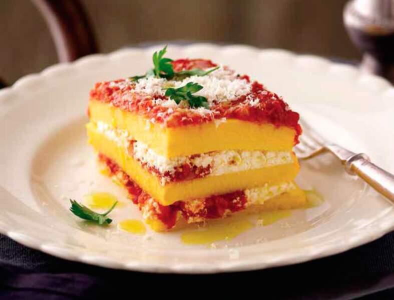 Gratin de polenta à la tomate et à la ricotta