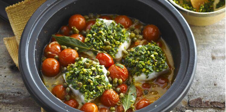 Cabillaud aux câpres et tomates cerises