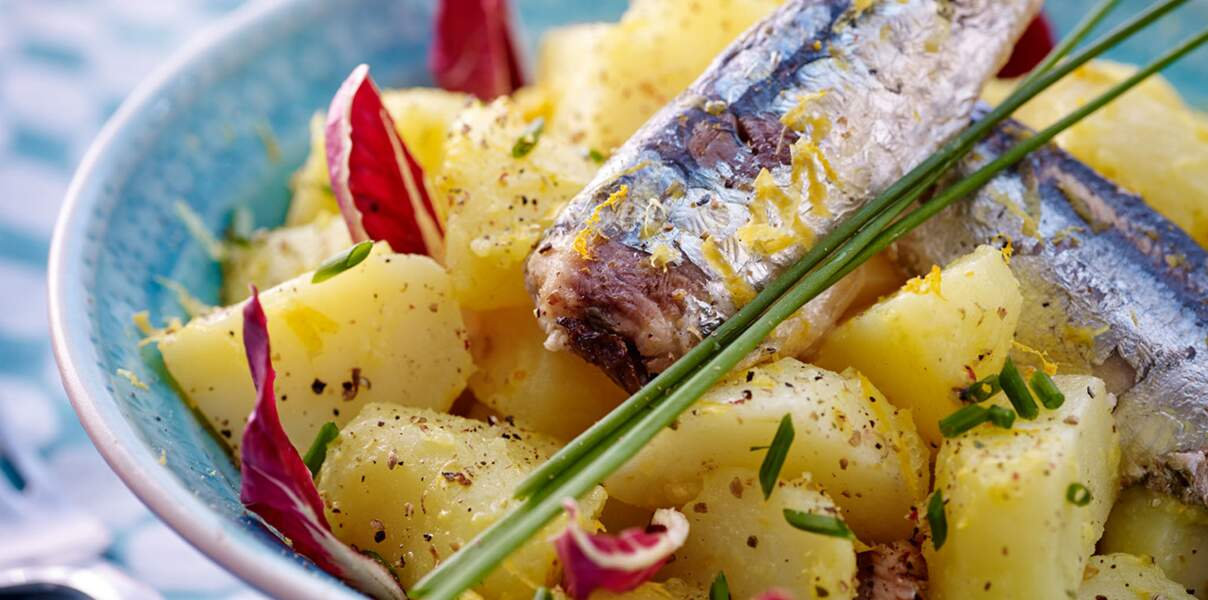 Salade tiède de pommes de terre et sardines au yuzu