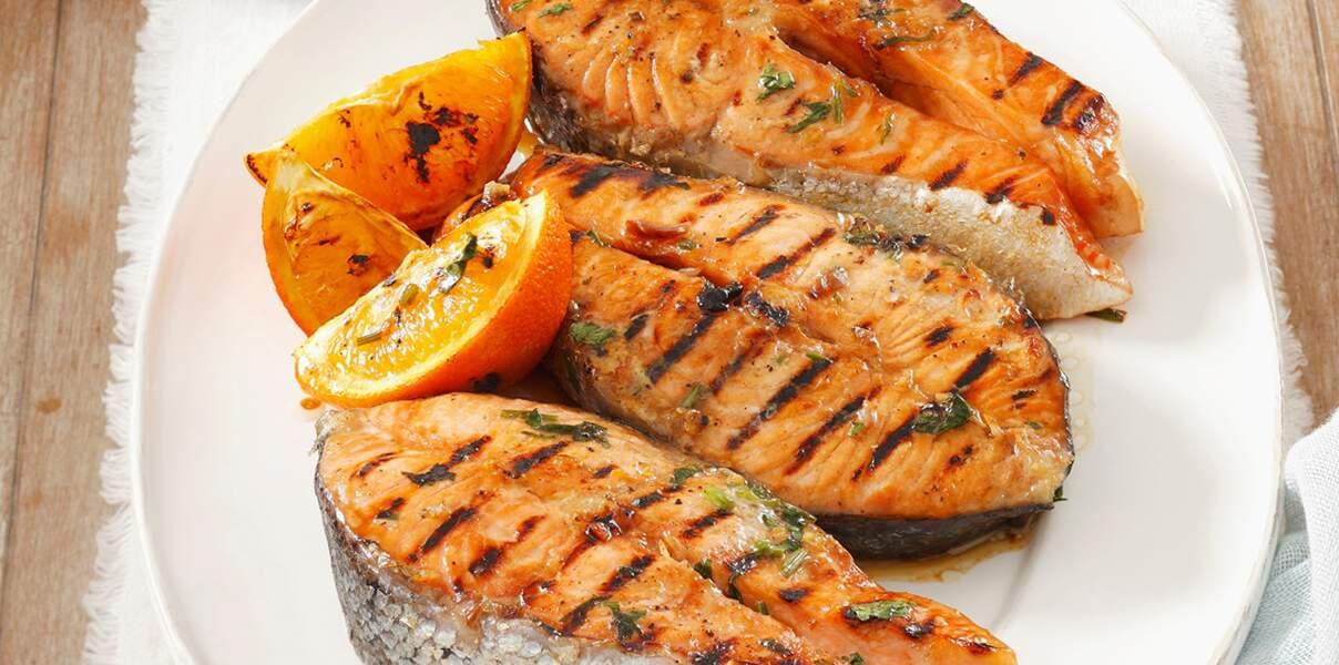 Saumon à l'orange, gingembre et coriandre