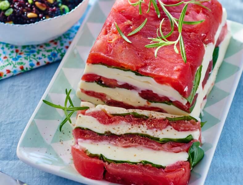 Pressé de tomates-mozzarella & salade de riz noir aux pignons