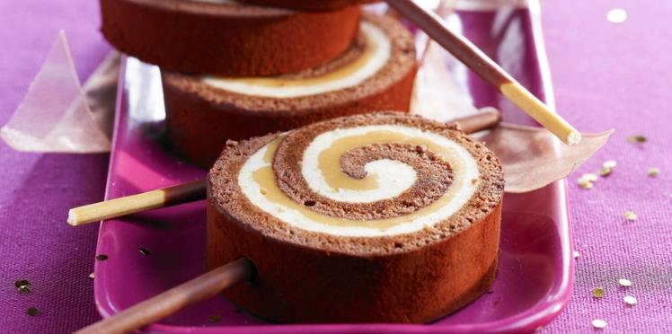 Bûche chocolat et caramel salé