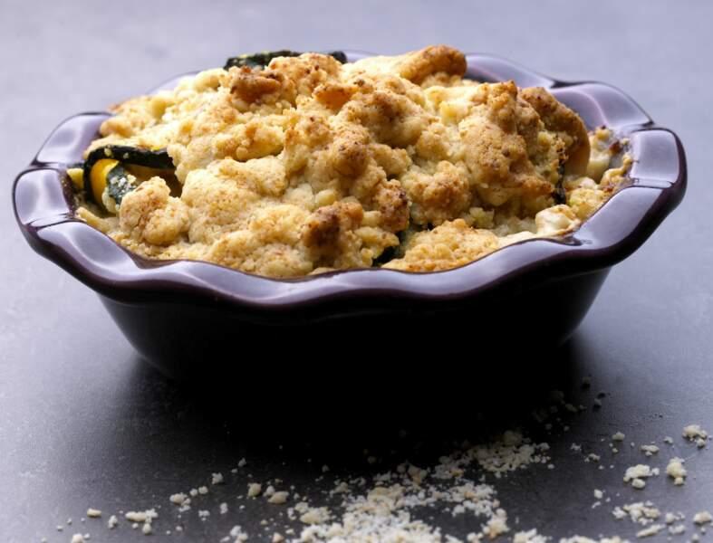 Crumble de courgettes au jambon cru et fromage frais
