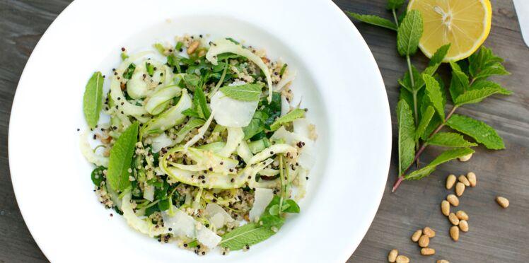 Salade de quinoa blanc et noir express, asperge, fenouil et cresson