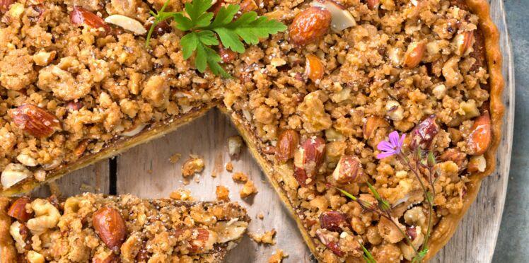 Tarte aux fruits secs, crème de pistaches