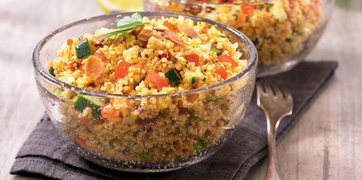Taboulé de couscous du soleil aux courgettes et amandes grillées