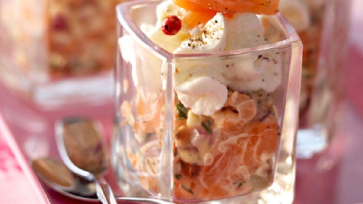 Tartare aux deux saumons, crème de ricotta