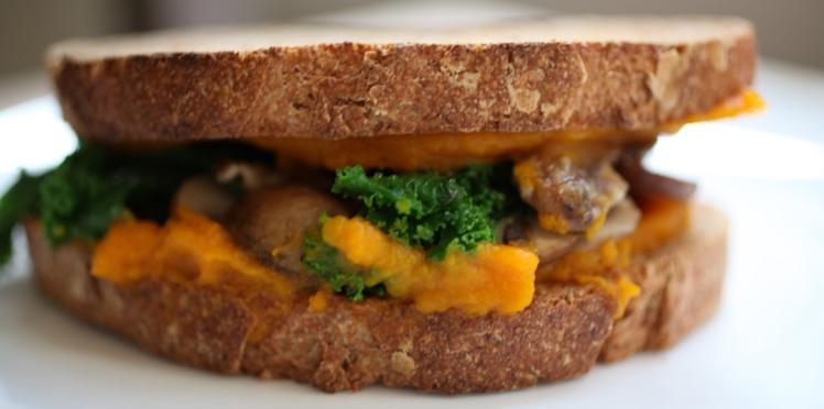 Sandwich au potimarron et chou kale