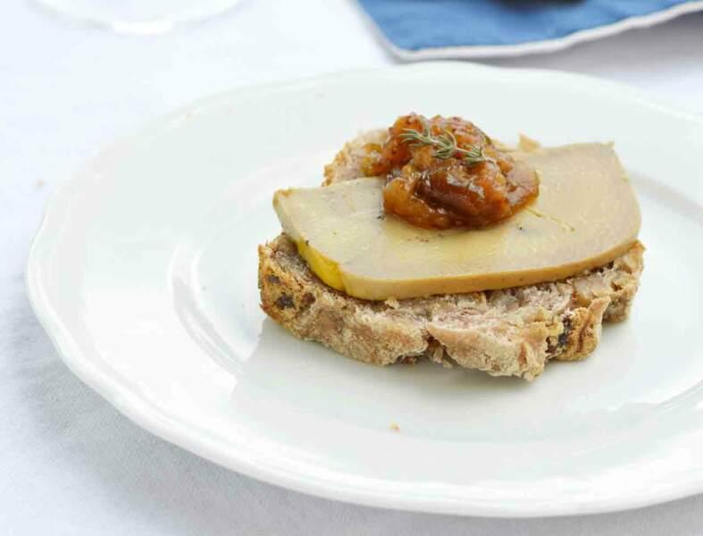 Toast de foie gras d'oie et son chutney figues et thym